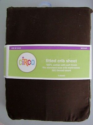 CIRCO FITTED CRIB SHEET BROWN 100% cotton 200 tread count New