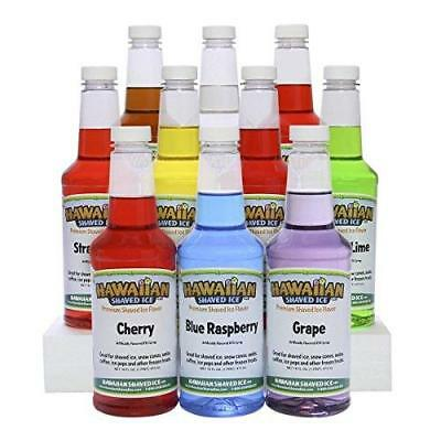 Hawaiian Shaved Ice 10 Flavor Syrup Package   Pack Includes 10 Snow Cone Syrup