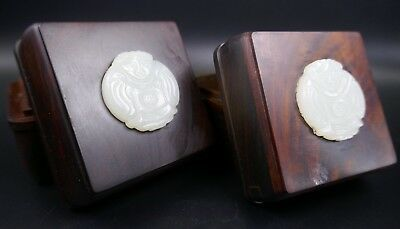 Fine Old Chinese Pair Chinese Wood Boxes w/ Jade Inlays Scholar Art #64