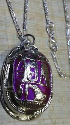 "Sterling Silver 925 Chain 28""  Egyptian Beetle Scarab with Hieroglyphics"
