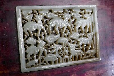 Fine Old Chinese Celadon Jade Carving on Wood Box #69