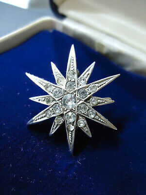 Sublime Antique Georgian Diamond Paste Star Brooch Pendant UK Hallmarks Silver