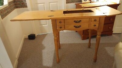 Vintage Folding Sewing Machine Table with storage WELL MADE, solid maple.