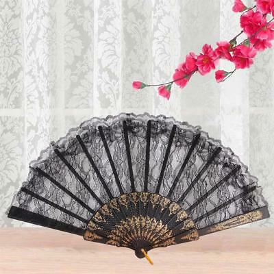 Chinese Vintage Fancy Dress Costume Party Bar Dancing Folding Lace Hand Fan AE