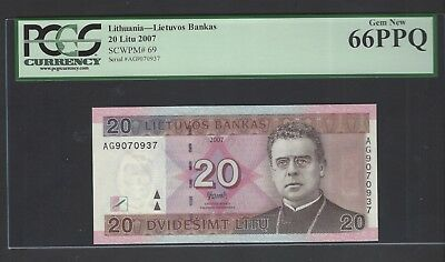 Lithuania 20 Litu 2007 P69 Uncirculated Graded 66