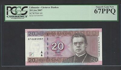 Lithuania 20 Litu 2007 P69 Uncirculated Graded 67