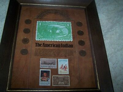 Vintage The American Indian Coin and Stamp Framed Collection