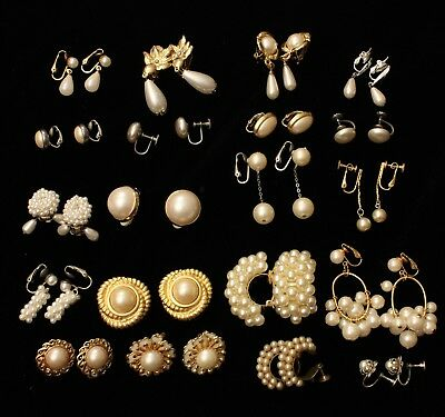 LOT 11 Vintage Faux Pearl Clip Earrings Lot of 20 Pair Some Signed Avon Napier
