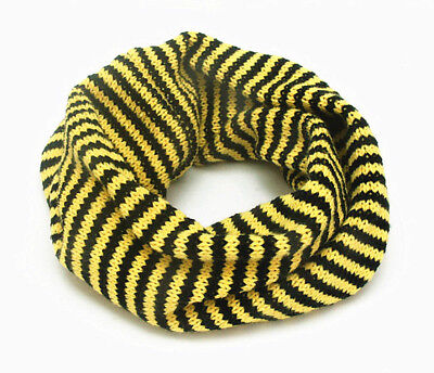 Kid Baby Unisex Knitting Winter Warm Two Color Striped O-Ring Scarves 6~48 Month