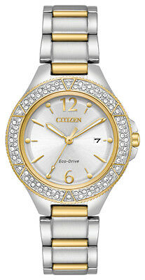 Citizen Eco-Drive Women's FE1164-53A Swarvoski Crystals Two-Tone 31mm Watch