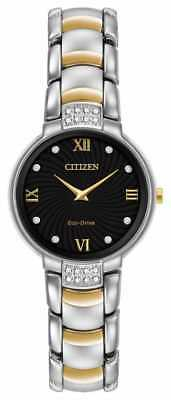 Citizen Eco-Drive Women's EX1464-54E Black Diamond Markers Two-Tone 29mm Watch