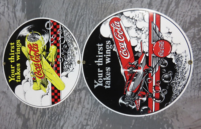 LOT of 2  ANDE ROONEY PORCELAIN Signs Coca-Cola Advertising SIGNS