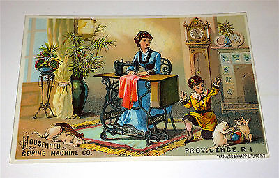 Antique Victorian Advertising Cat / Pets & Child! Household Sewing Trade Card!