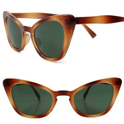 86181a3ca48 Classic Retro 80s 90s Look Chic Sexy Womens Green Lens Brown Cat Eye  Sunglasses