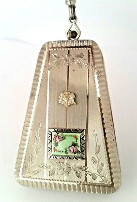 Vintage Silver Vanity Finger Ring Dance Compact with Green Guilloche & Inset.