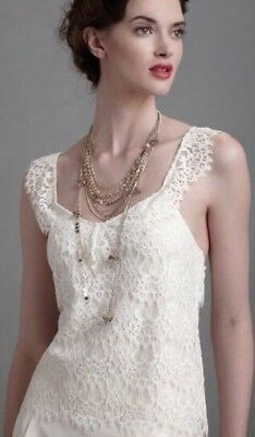 New BHLDN QUILLAREE TO-THE-AIR White Lace Stretch Silk Tank Top Sz 6 MSRP $250
