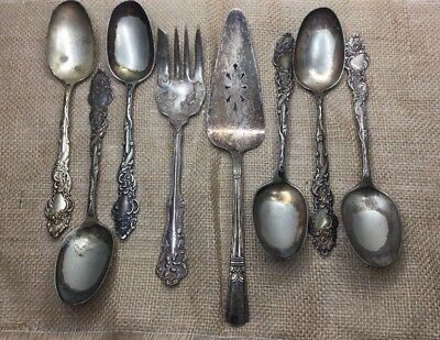 Mixed Lot of 8 Vintage Silverplate Flatware Serving Pieces