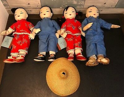 Vintage Ada Lum Dolls Family of 4 Chinese Farmer Dolls Some w/ Tags