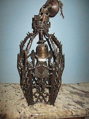 Antique Art Deco 1920 Cast Iron Brass Chandelier Hanging Ceiling Light Fixture