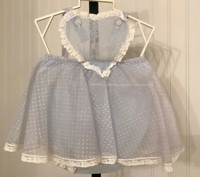 vintage 1950's baby girl sunsuit romper, blue dotted swiss, heart shape top
