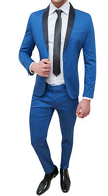 ee022560ff0f3 Costume Homme Complet Sartoriale Bleu Clair Slim Fit Moulant Smoking Coton  Satin