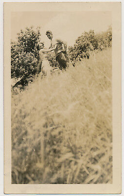 COUPLE Woman @ odd UP ANGLE COMPOSITION vtg TIMER SELF PORTRAIT photo ABSTRACT