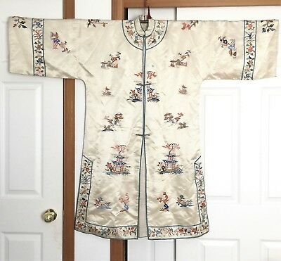 Rare Antique Chinese Hand Embroidered Silk Women Robe Circa Qing Dynasty or late