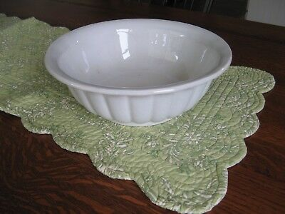 "Vintage White Ironstone Bowl 10"" Dia. X 3H Fluted B.P. Co.  Nice."