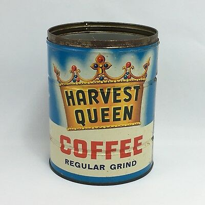 Vintage Coffee Tin Key Wind Red Owl Harvest Queen 2 Lbs Can Advertising Empty