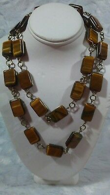 "Stunning Vintage Tiger Eye Square Cut Gold Filled Bezel Set 28"" Necklace"