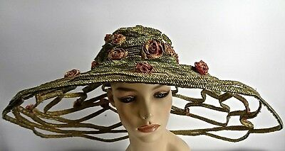 "Huge 25"" Vintage Green Open Fretwork Pink Flower Straw Picture Hat Bailey Tomlin"