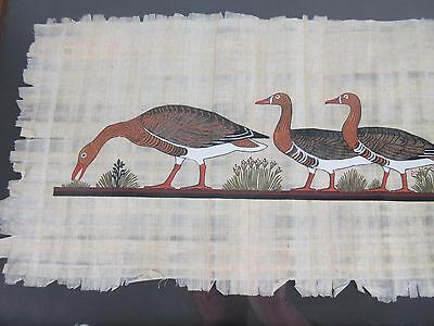 Framed Art Egyptian Papyrus paper Meidum Geese Painting Wall Hanging 29 by 11