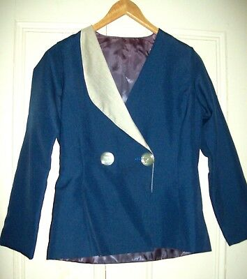 Vintage 40s 50s sailor jacket Blue and white wasp nipped waist M L BLazer