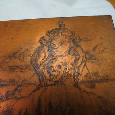1890 era Goth / Pagan Religion / Halloween copper book printing plate HUGE SKULL