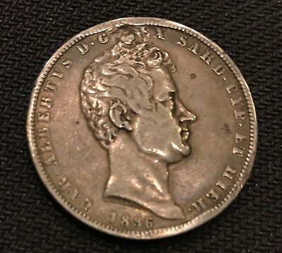 Italy 1836 P 5 Lire Foriegn Coin