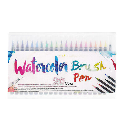20 Colors Watercolor Painting Pen Brushes Artist Sketch Drawing Marker Pens Set