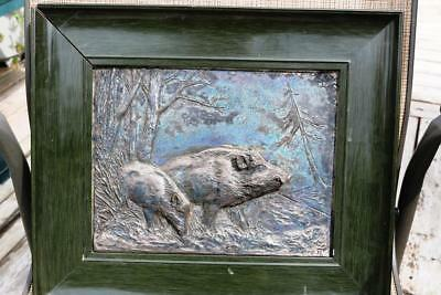 1897 Bronze ?  Metal Relief O Hartwig Wild Boars Leaving The Forest