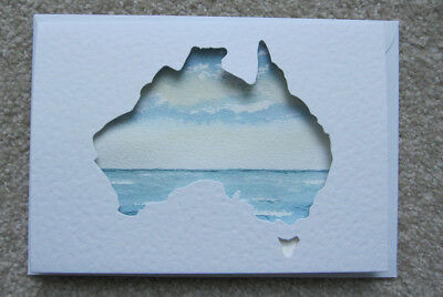 Hand Painted WATERCOLOUR australia OCEAN sea AUSTRALIANA sky PASTELS travel ART