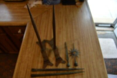 Group of antique lightning rod parts, ornate and unusual.