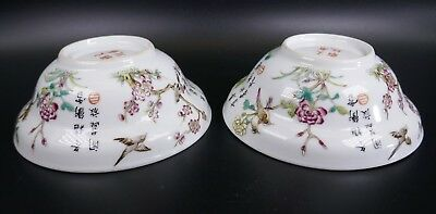 Fine Old Chinese 19th/20th Pair Republic Period Porcelain Bowl Famille Rose