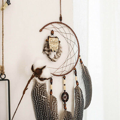 Dream Catcher With feathers wooden Owl Wall Hanging Decoration Decor Ornament