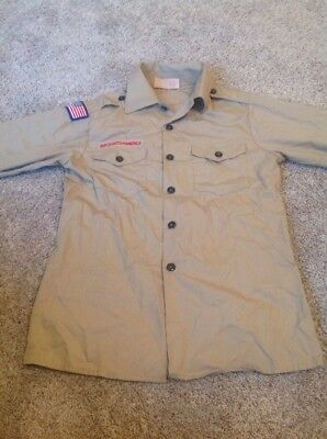 Boys Official BSA Boy Scout Long Sleeve Shirt Tan Youth L Large -NICE!!