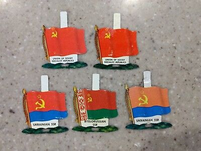 Nabisco International Tin Litho Flags (5) Countries Vintage Unused Tabs USSR