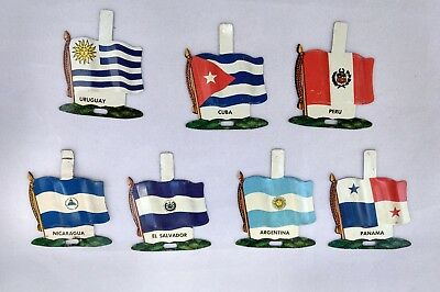 Nabisco International Tin Litho Flags (7) Countries Vintage Unused Tabs