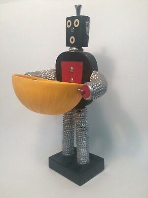Vintage (Mid-Century?) Bottle Cap Man Folk Art With Vintage Deka Bowl
