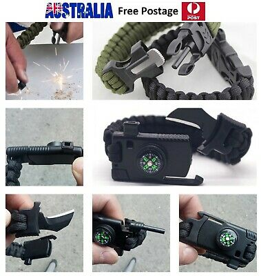 5in1 Multi Tool Outdoor 550 Paracord Army Stainless Steel SURVIVAL BRACELET 22CM