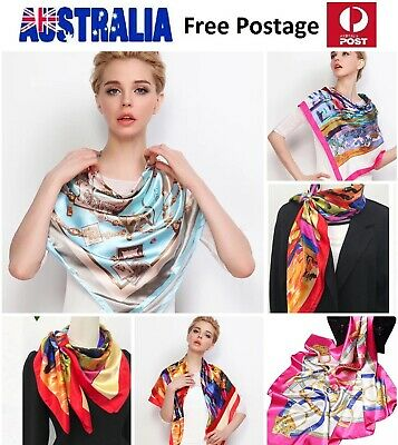 Women Silk Satin Large Square Scarf Lady Summer Beach Wrap Professional 90x90cm