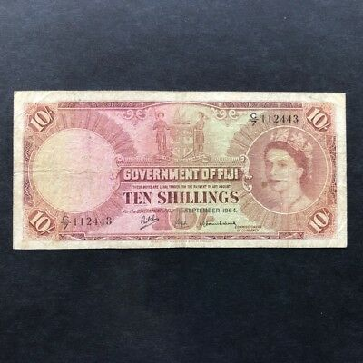1964 Government of Fiji QEII 10/- Ten Shillings Circulated Banknote