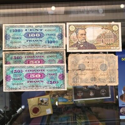5x France Banknotes Circulated 100 50 x2 1944 5 x2 Francs 1916-67 Paper Money