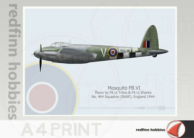 Warhead Illustrated Mosquito FB.VI 464 Sq RAAF  SB V A4 Aircraft Print